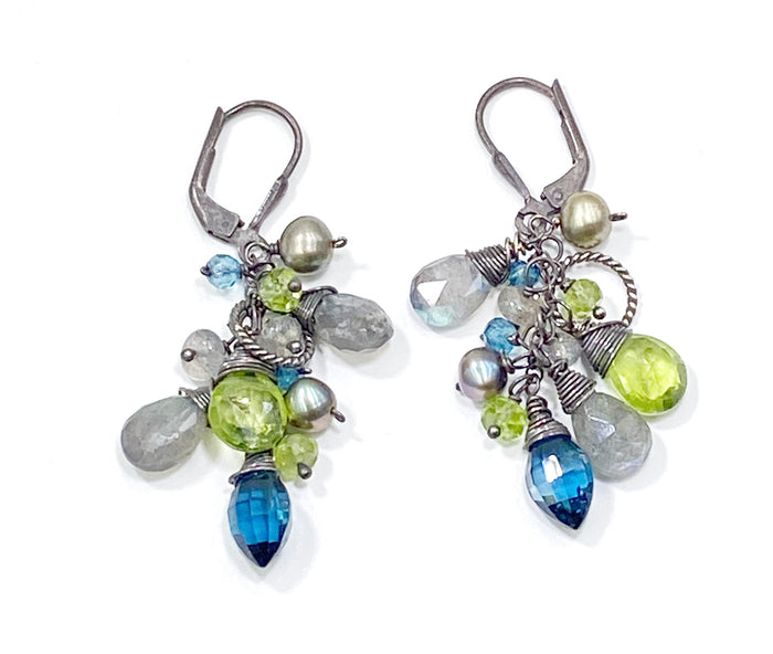 Peridot, Labradorite, London Blue Topaz Dangle Earrings Oxidized Sterling Silver