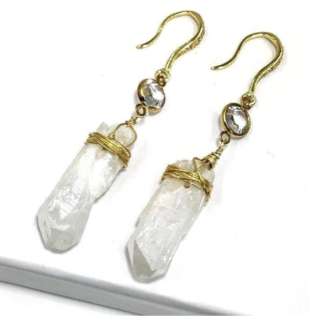 Mystic Raw Crystal Point and Gold Swarovski Crystal Dangle Earring - doolittlejewelry