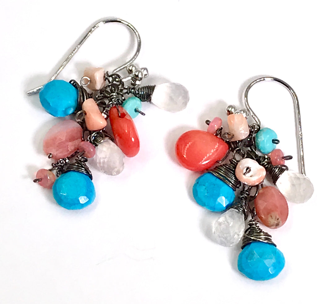 Turquoise Coral Moonstone Dangle Earrings Oxidized Silver - doolittlejewelry