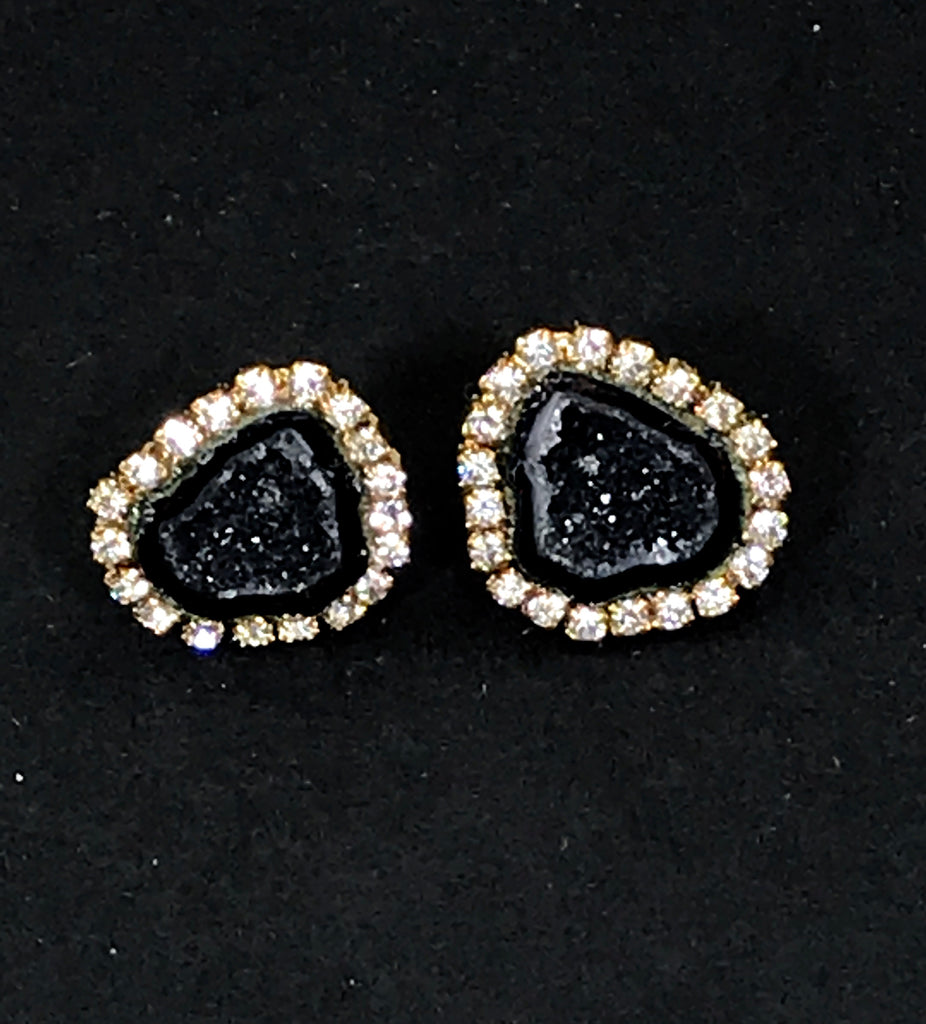 Black Tabasco Geode Stud Earrings Diamond Style - doolittlejewelry