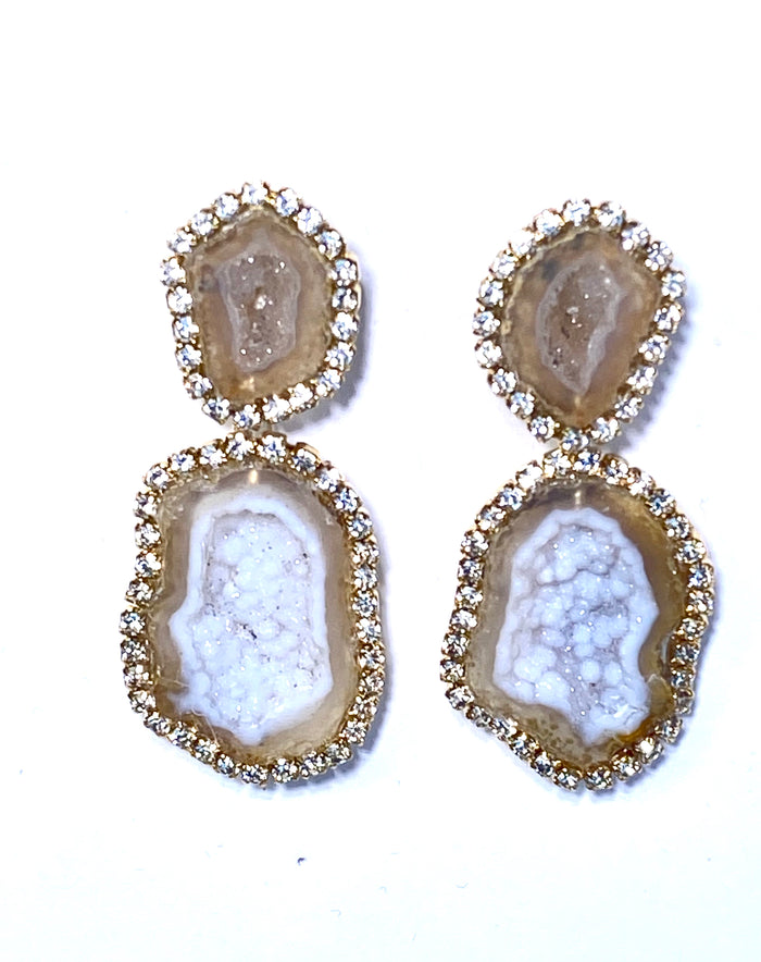Ivory & Beige Tabasco Geode Druzy Double Dangle Earrings - doolittlejewelry