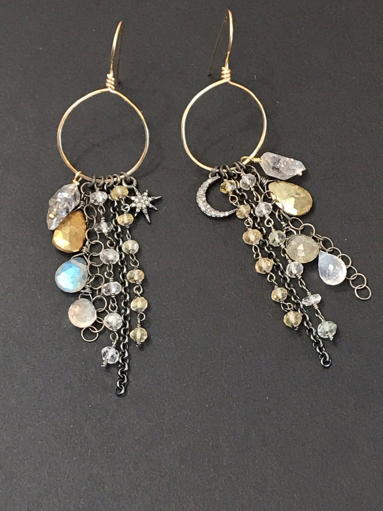 Diamond Charm Boho Dangle Earrings Mixed Metals Labradorite Moonstone - doolittlejewelry