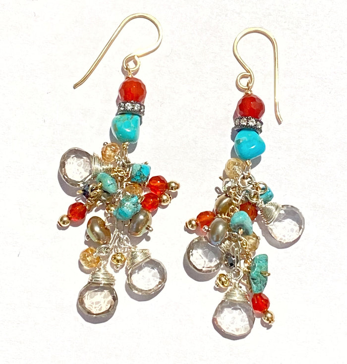 Turquoise, Carnelian, Long Dangle Earrings Mystic Quartz, Mixed Metals
