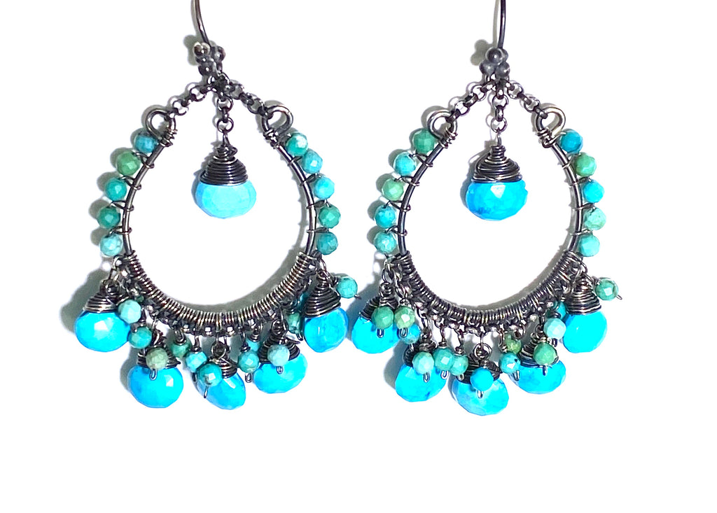 Arizona Turquoise Oxidized Sterling Silver Hoop Earrings
