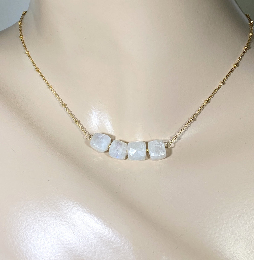 Rainbow Moonstone Cube Dainty Gold Fill Necklace - doolittlejewelry