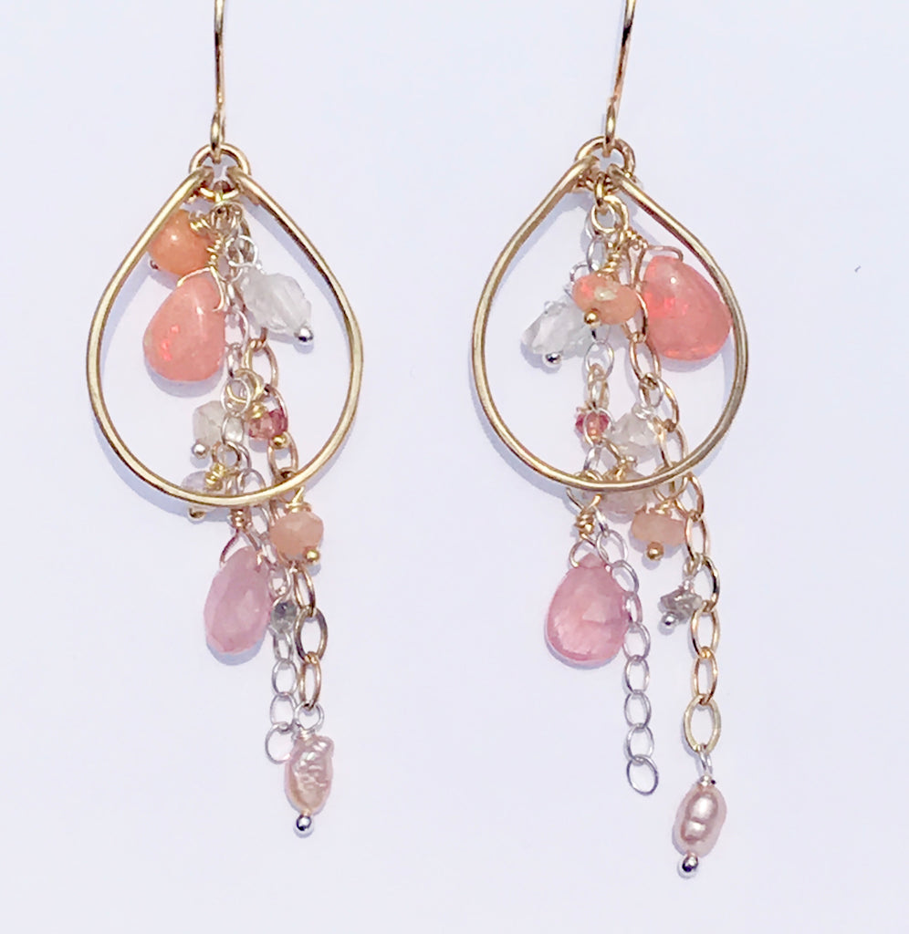 Opal Dangle Chandelier Gold Hoop Earrings - doolittlejewelry