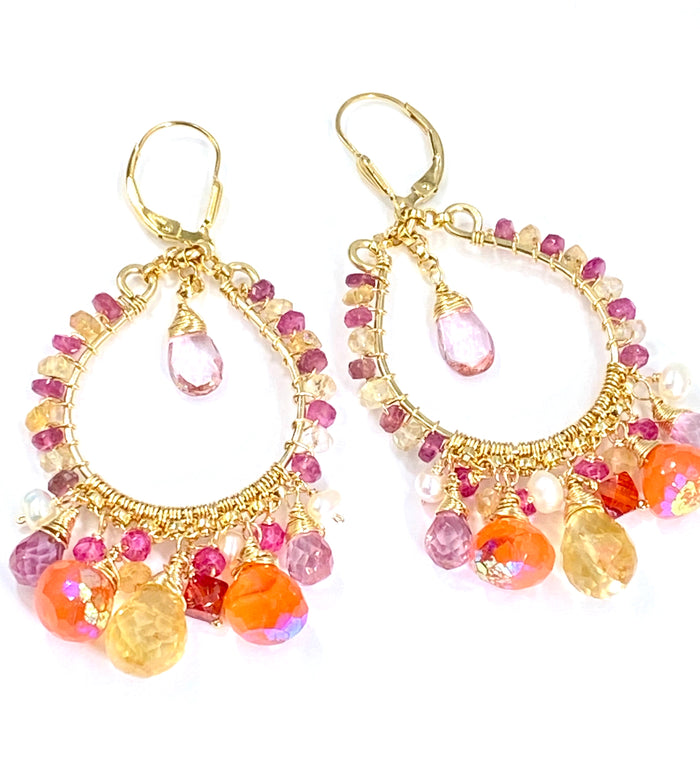 Multi-color Gemstone Gold Hoop Earrings - Mystic Carnelian, Pink Topaz, Citrine