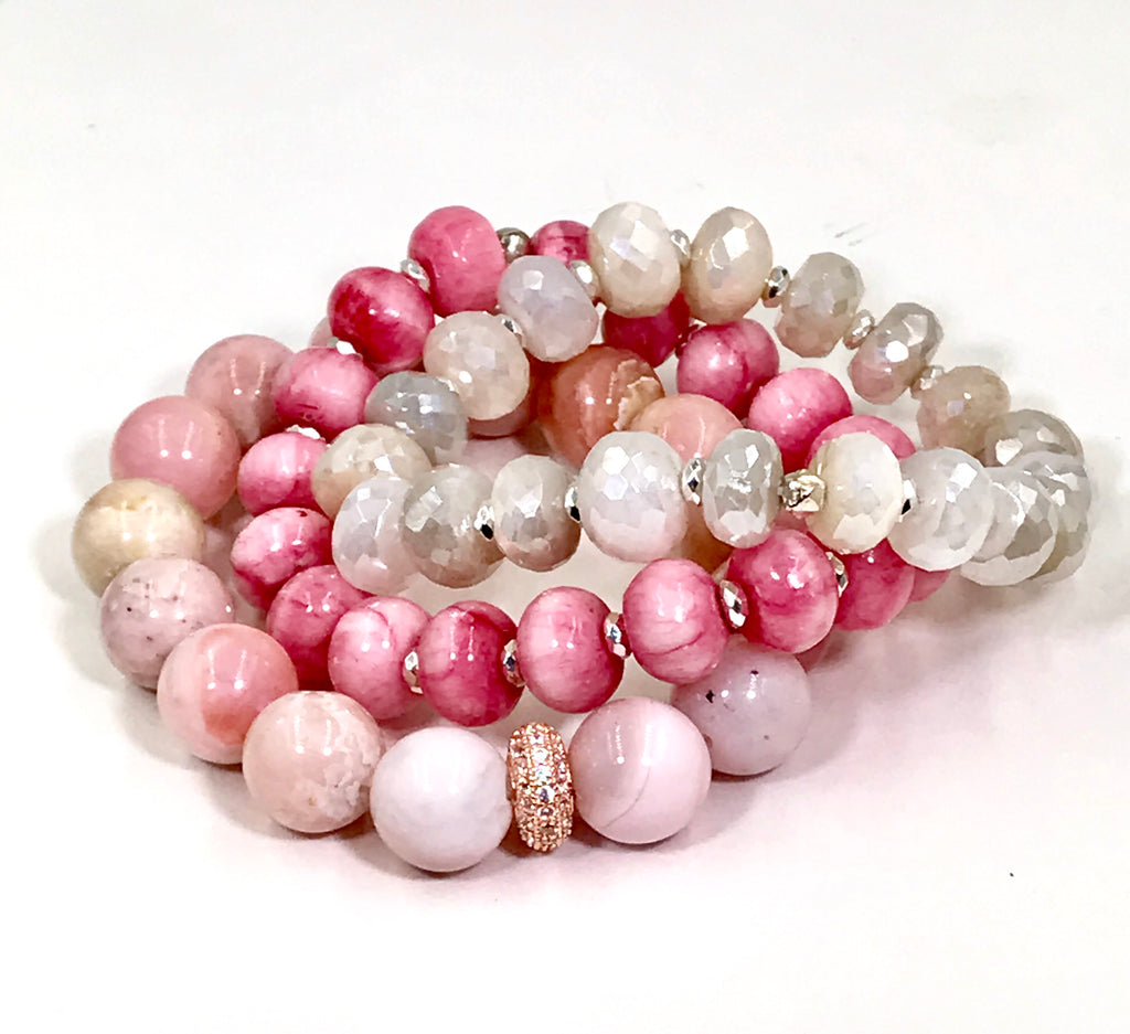 Pink Rhodocrosite Stretch Stacking Bracelet, 10mm - doolittlejewelry