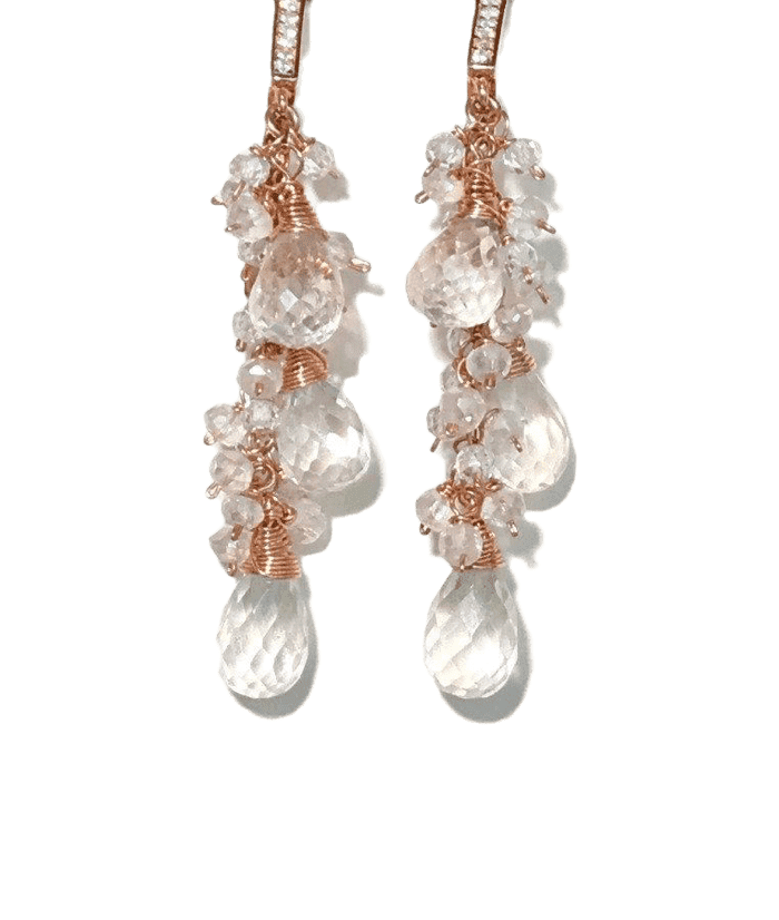 Crystal Quartz Rose Gold Bridal Wedding Earrings