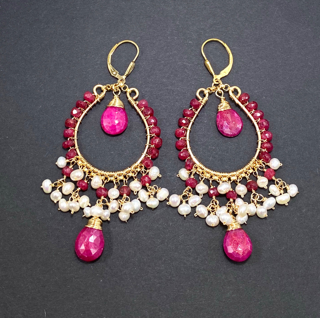 Red Ruby and Pearl Gold Hoop Statement Earrings - doolittlejewelry