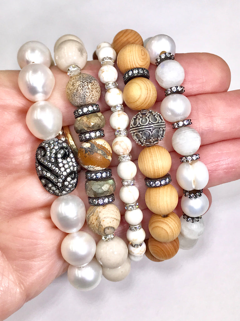 Pearl Moonstone Sterling Silver Stretch Stacking Bracelet Set of 4 Sandalwood Neutrals - doolittlejewelry