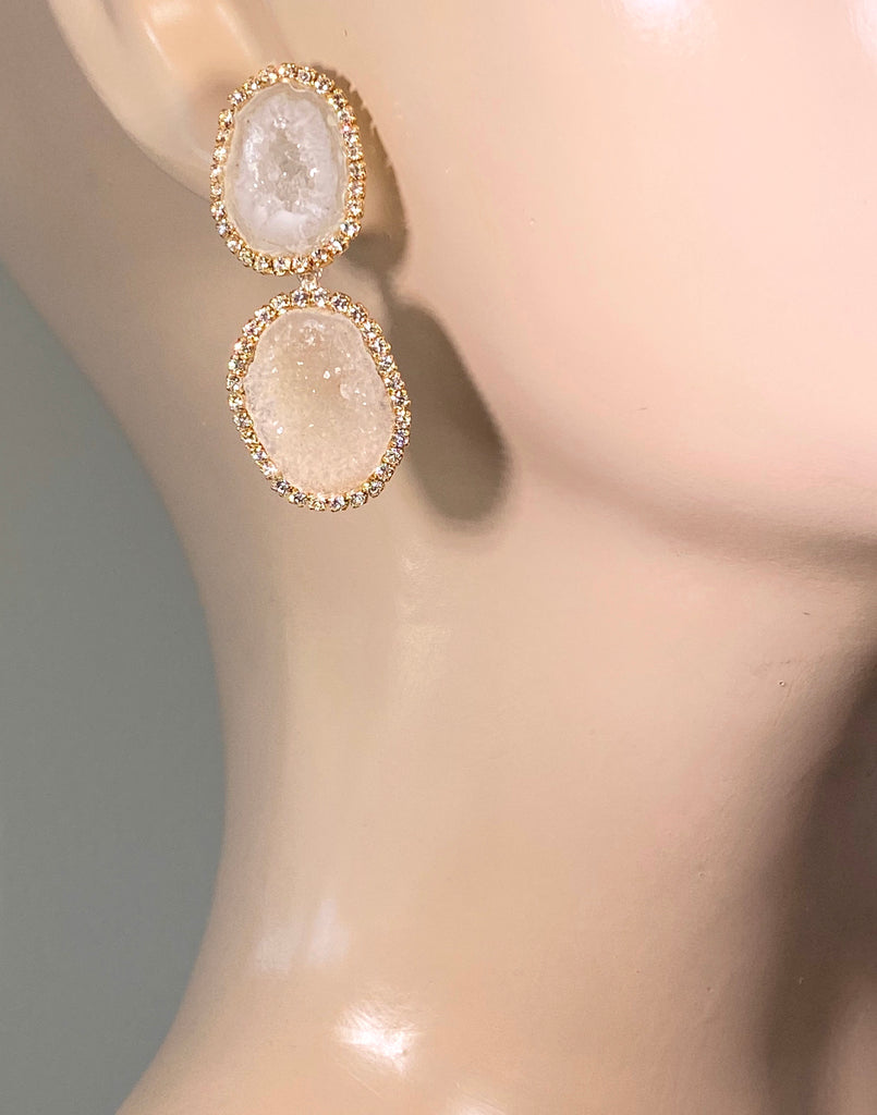Ivory Tabasco Geode Bridal Earrings Double Dangle Post Diamond Style - doolittlejewelry
