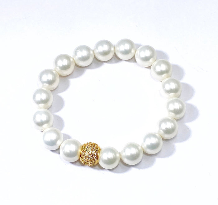 White Pearl Stretch Stacking Bracelet with Gold Pave CZ Bead