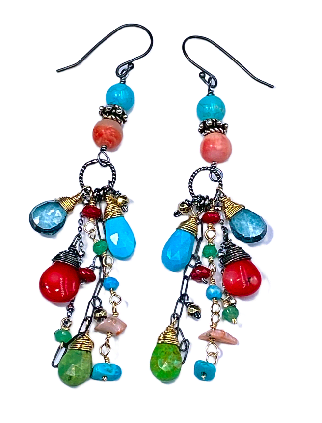 Turquoise Long Boho Earrings Mixed Metal Red Coral Green Turquoise - doolittlejewelry