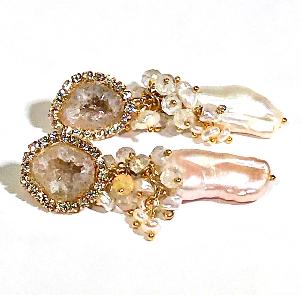 Tabasco Geode Druzy Earrings Biwa Pearl Cluster Earring - doolittlejewelry