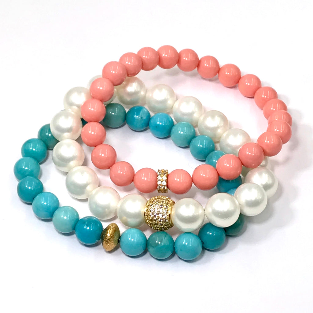 Coral Beaded Stretch Stacking Bracelet with Gold Pave CZ - doolittlejewelry