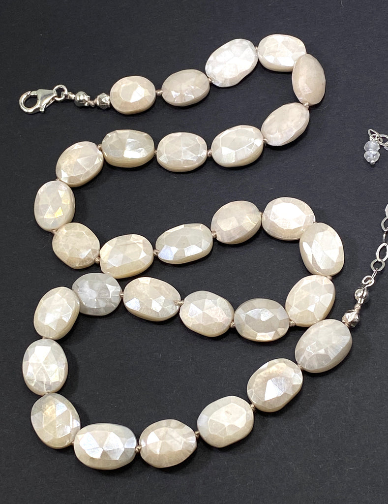 Ivory Mystic Moonstone Necklace Silk Knotted Sterling Silver - doolittlejewelry