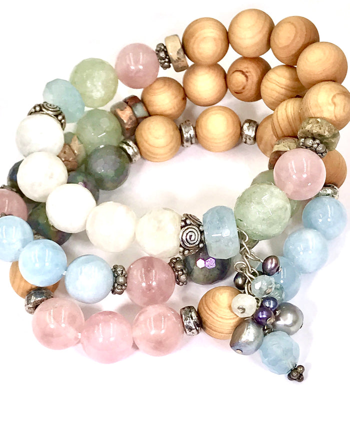 Colorful Pastel Stretch Stacking Bracelet Set of 3 Rose Quartz Moonstone Sandalwood - doolittlejewelry