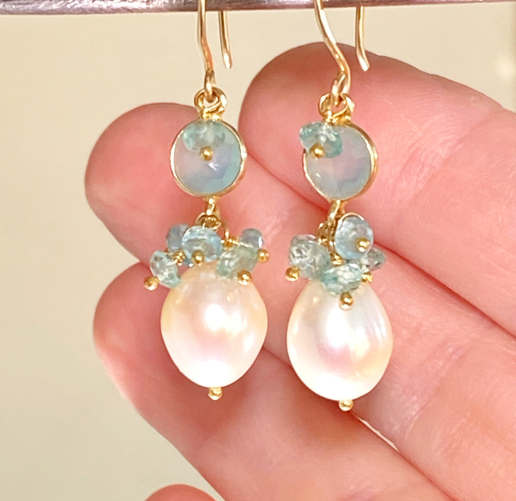 Pearl, Gemstone Cluster, Aqua and Dangle Earring - doolittlejewelry