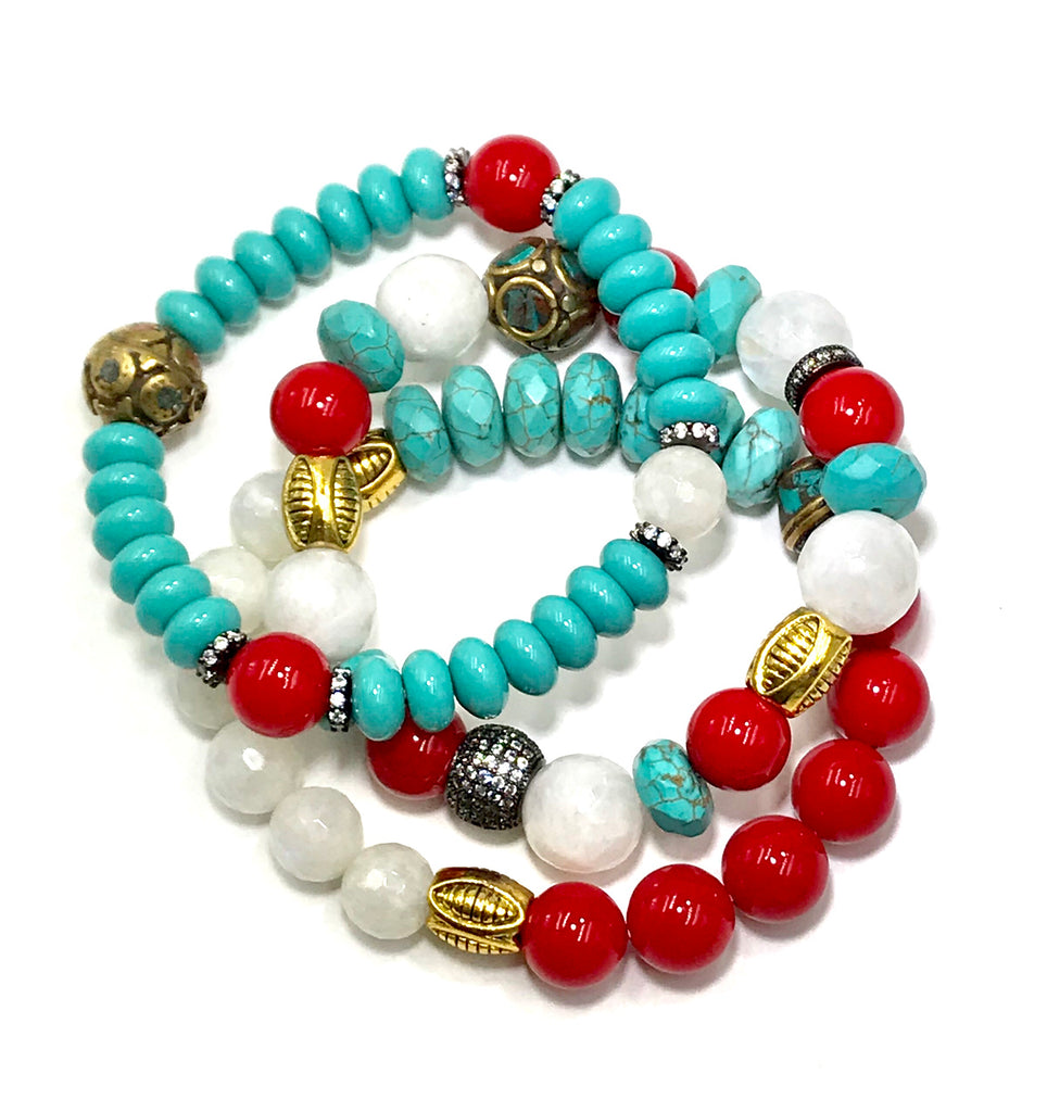 Turquoise, Moonstone, Red Mixed Metal Stack Bracelet Set of 3 - doolittlejewelry