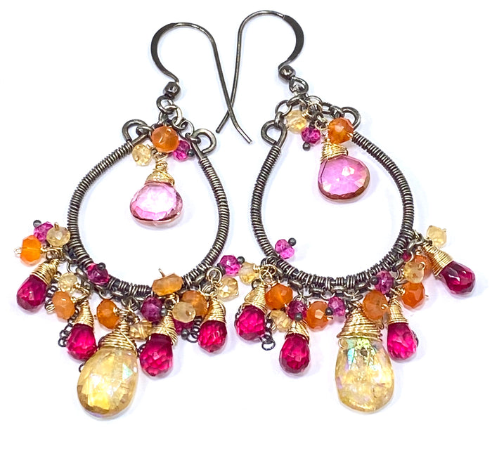 Multi-color Gemstone Hoop Earrings Mystic Citrine Hot Pink Quartz Oxidized Silver