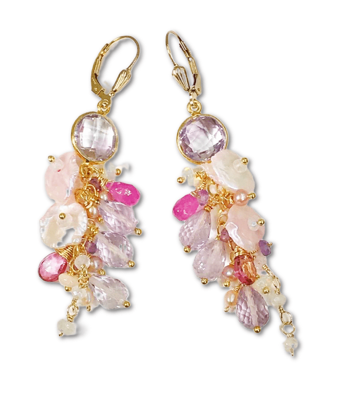 Blush Keishi and Lavender Pink Amethyst Earrings