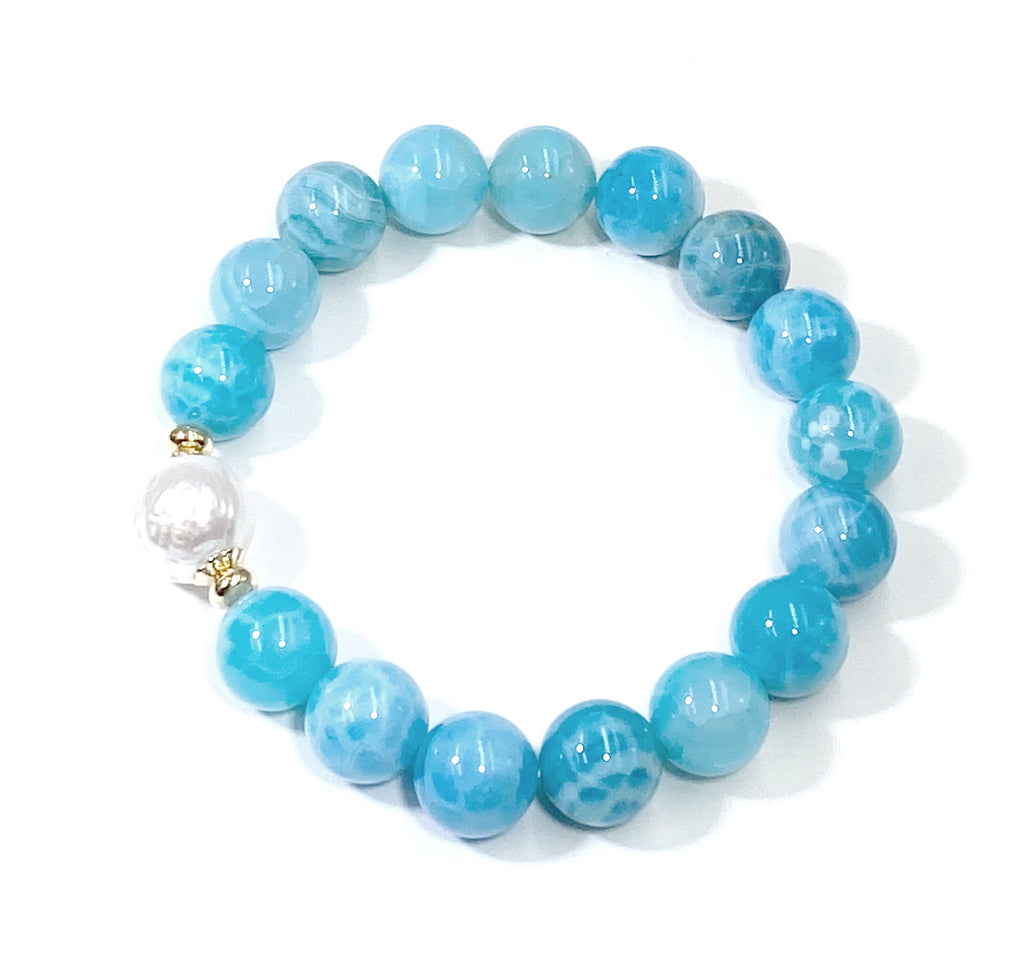 Blue Beaded Stretch Stacking Bracelet with Pearl, Blue Chalcedony