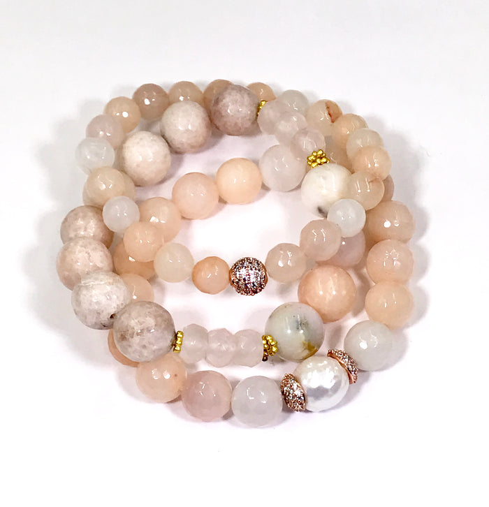 Blush Stone Bracelet Stretch Stack Set of Three - doolittlejewelry