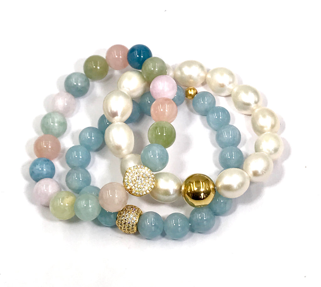 Multi-color Aquamarine Beryl Stretch Stacking Bracelet Gold Pave CZ - doolittlejewelry