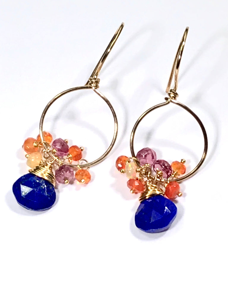 Mexican Fire Opal and Blue Lapis Earrings - doolittlejewelry