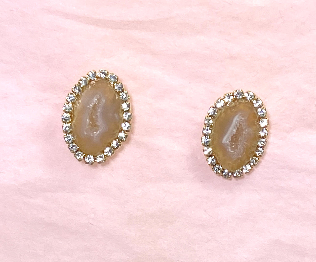 Tabasco Geode Slice Stud Earrings Golden Beige - doolittlejewelry