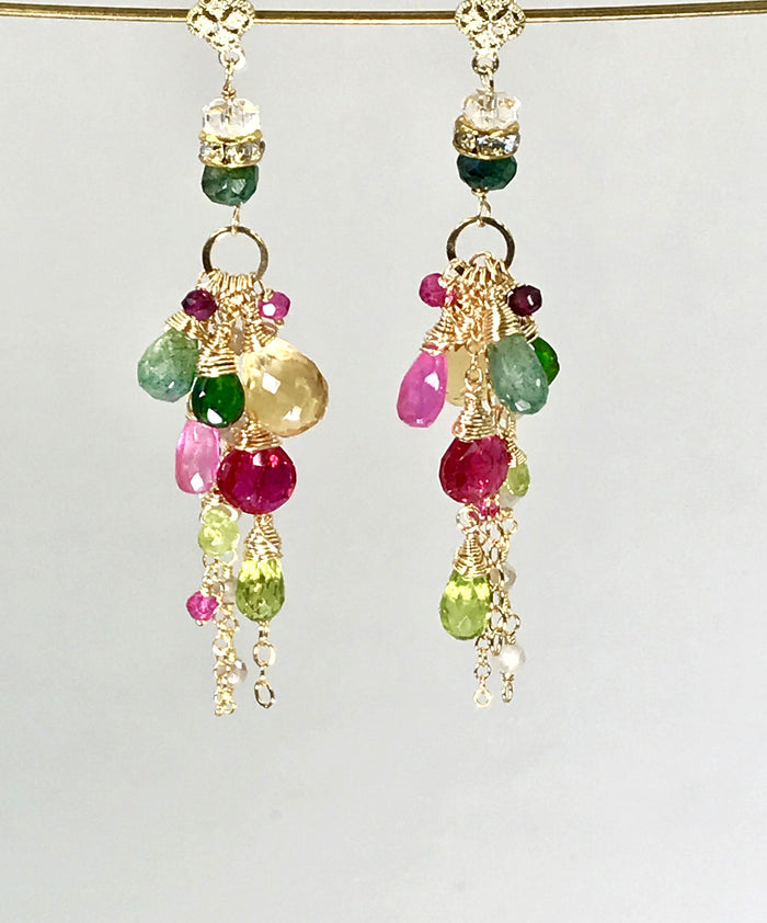 Colorful Gemstone Holiday Long Boho Dangle Earrings Green Red Pink Gold
