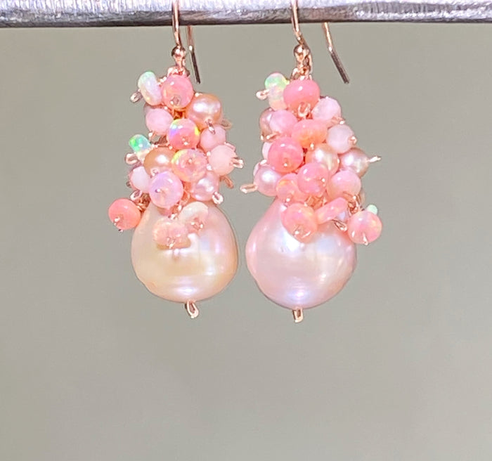 Blush Pink Baroque Pearl Opal Cluster Rose Gold Earrings