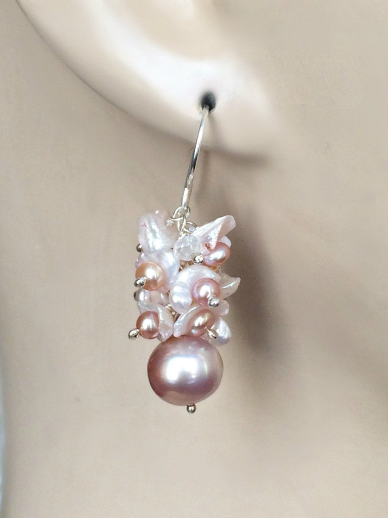 Sterling Silver and Keishi Pearl Cluster Earrings - doolittlejewelry