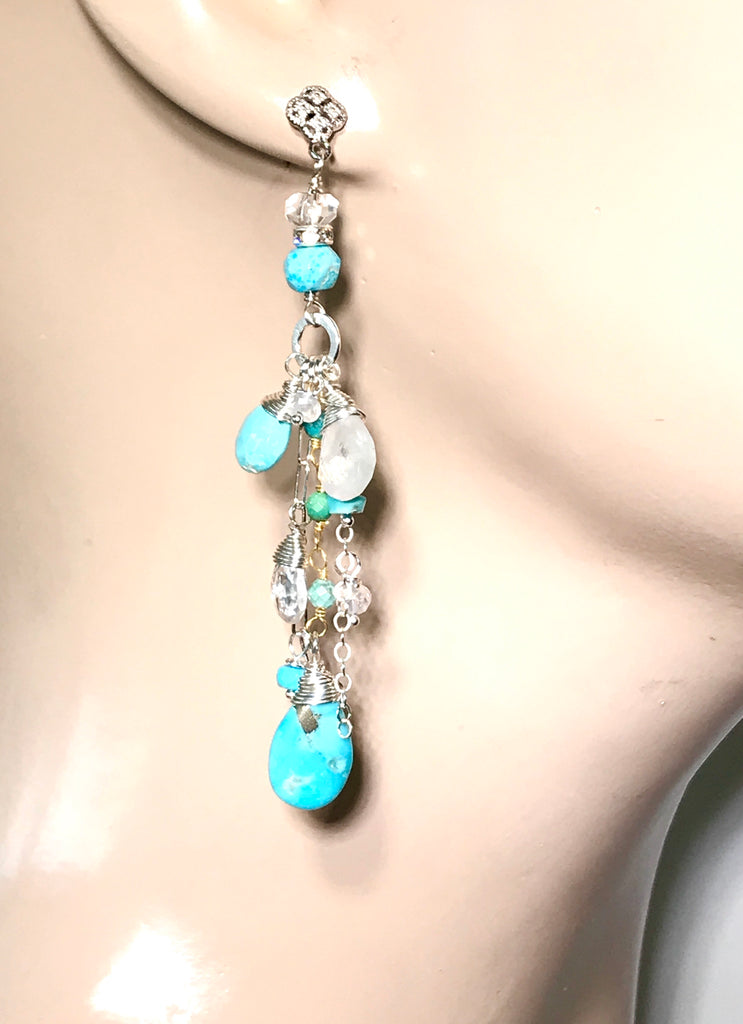 Kingman Turquoise Long Sterling Silver Boho Dangle Earrings - doolittlejewelry