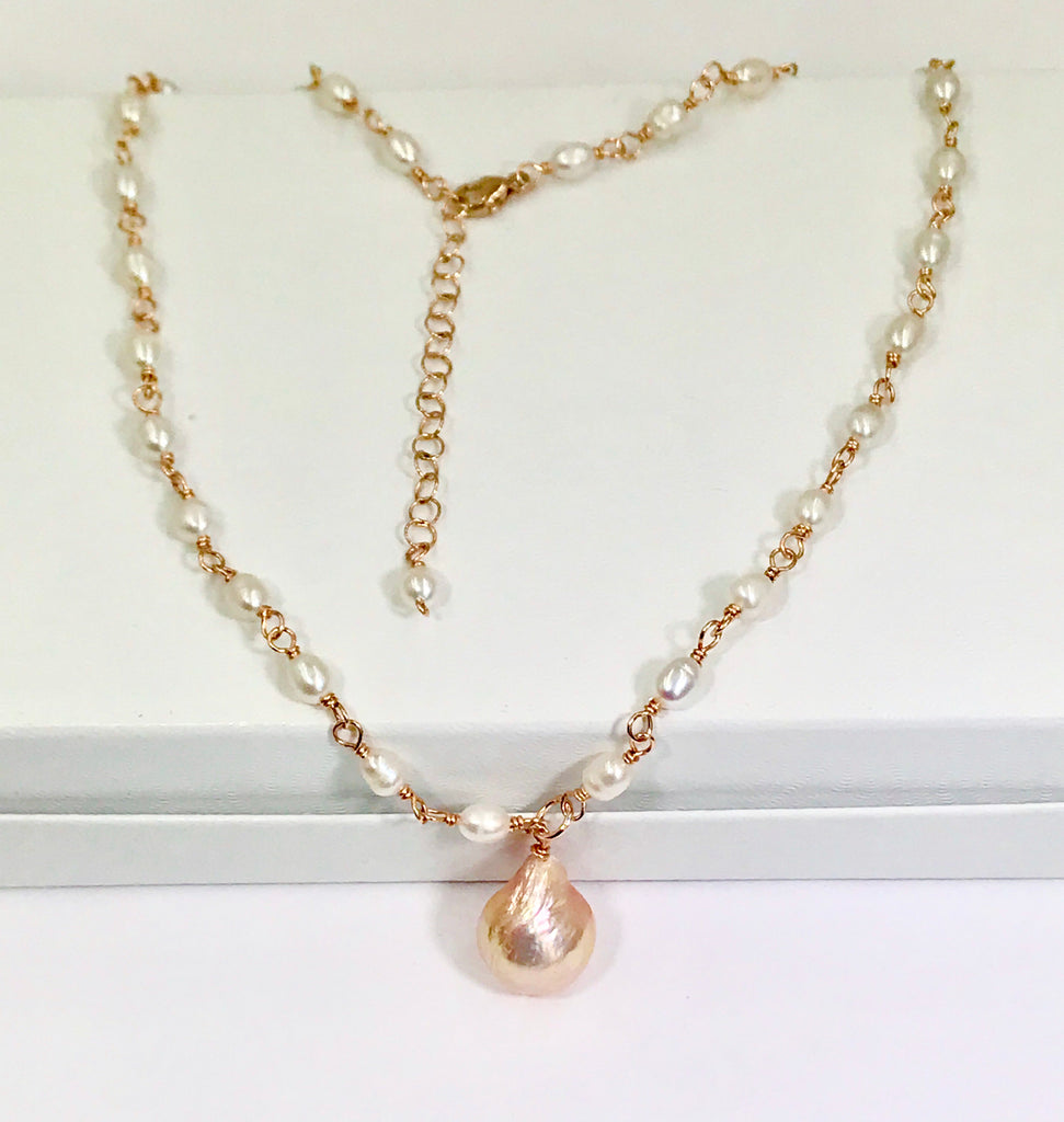 Dainty Pearl Rose Gold Rosary Style Wire Wrap Necklace Blush Pearl Drop - doolittlejewelry