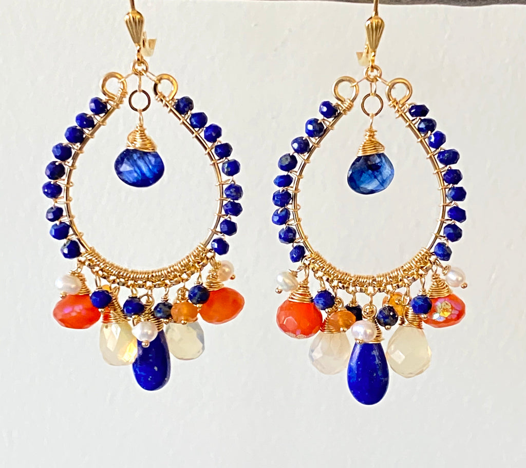 Blue Lapis Gold Fill Hoop Earrings Mystic Carnelian & Fire Opal - doolittlejewelry