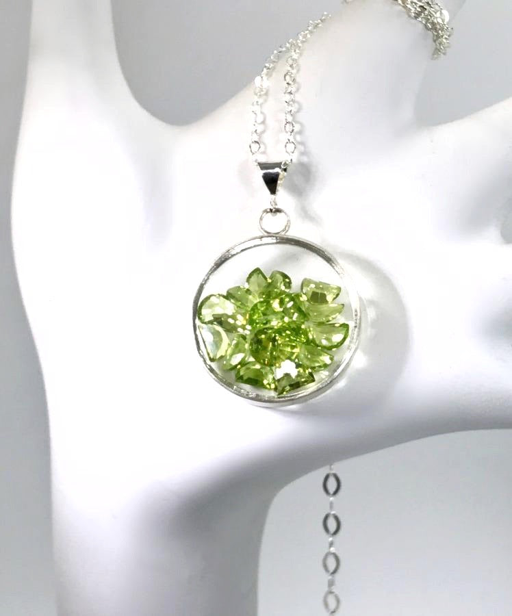 Peridot Shake Locket Sterling Silver Necklace