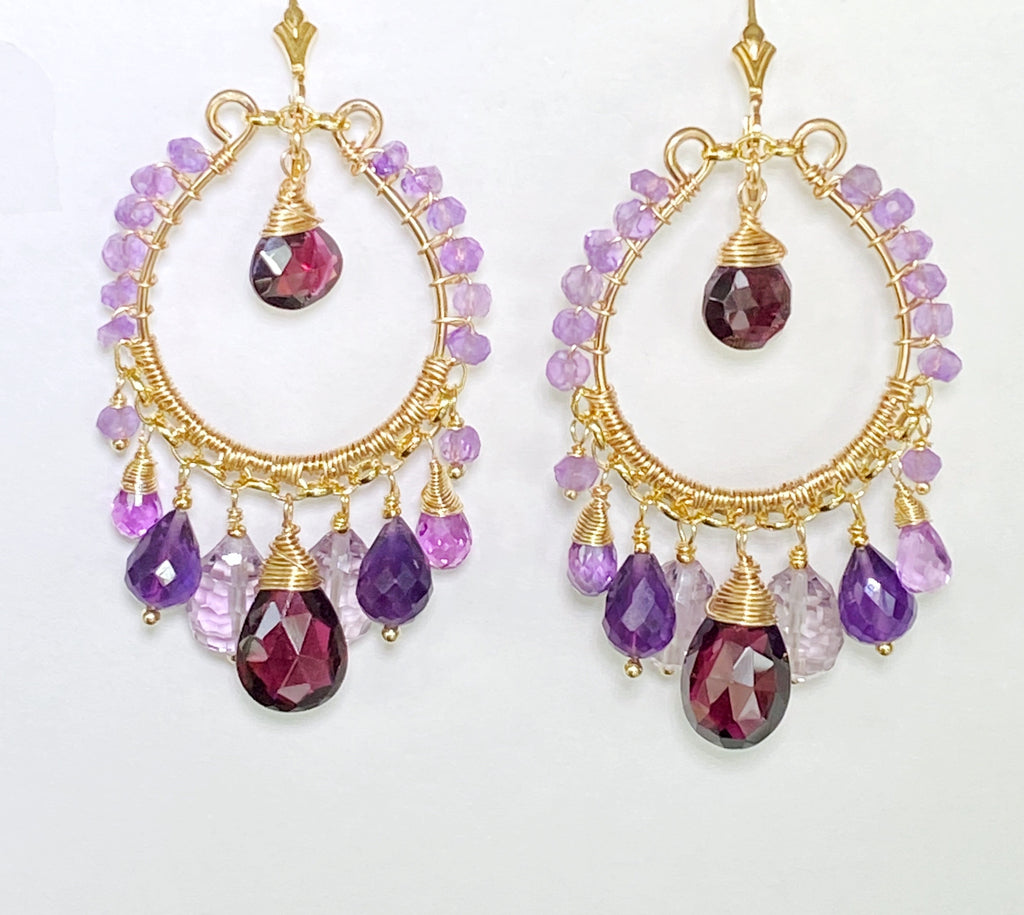 Amethyst, Rhodolite Garnet Gold Hoop Earrings with Violet Quartz