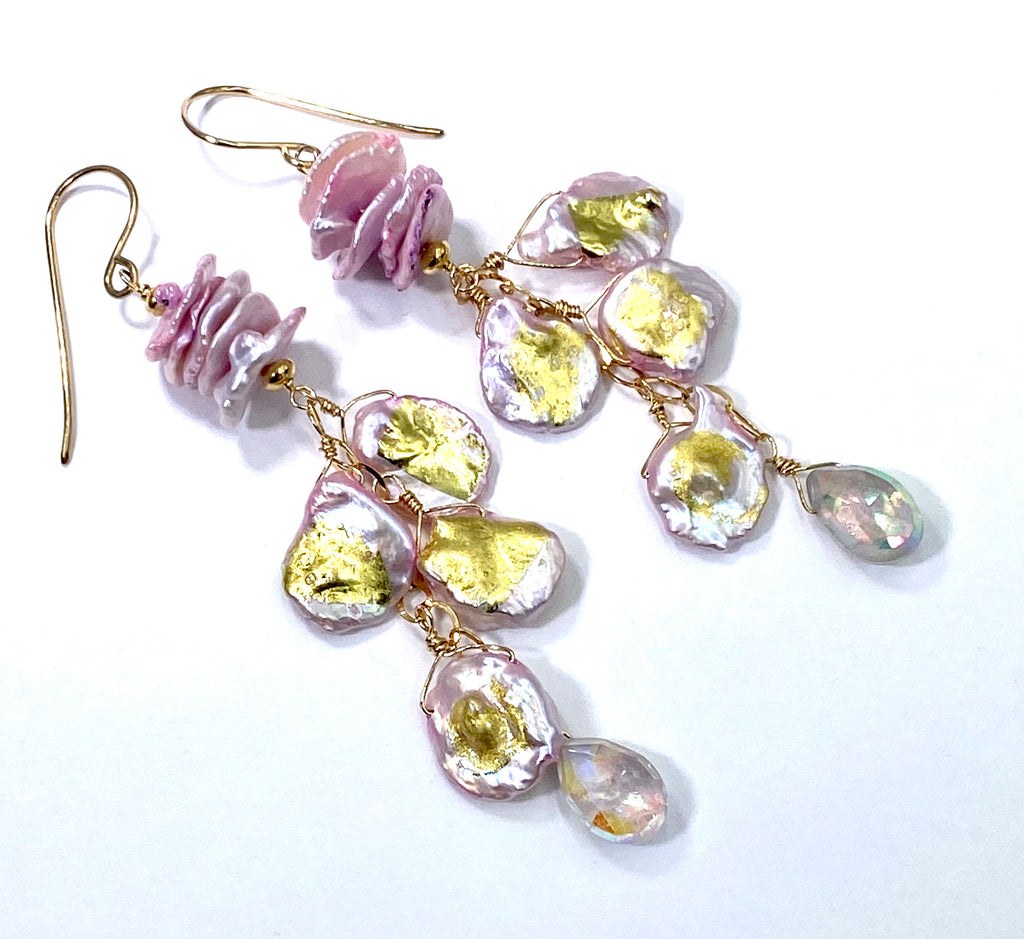 Light Pink Keishi Pearl, Mystic Pink Amethyst, 24 kt Gold Long Dangle Earrings - doolittlejewelry