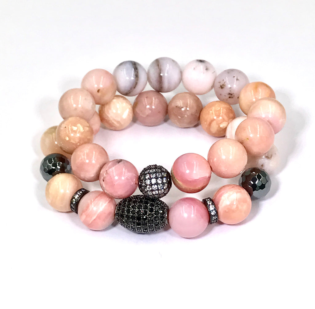 Pink Peruvian Opal Stretch Stacking Bracelet - doolittlejewelry