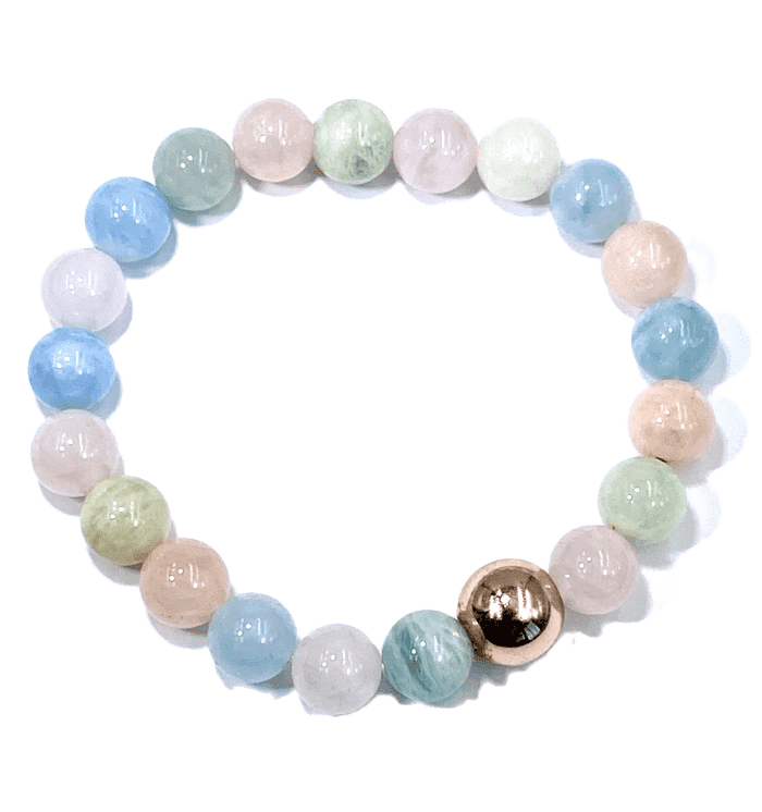 Morganite Aquamarine Pastel Gemstone Rose Gold Stretch Stacking Bracelet