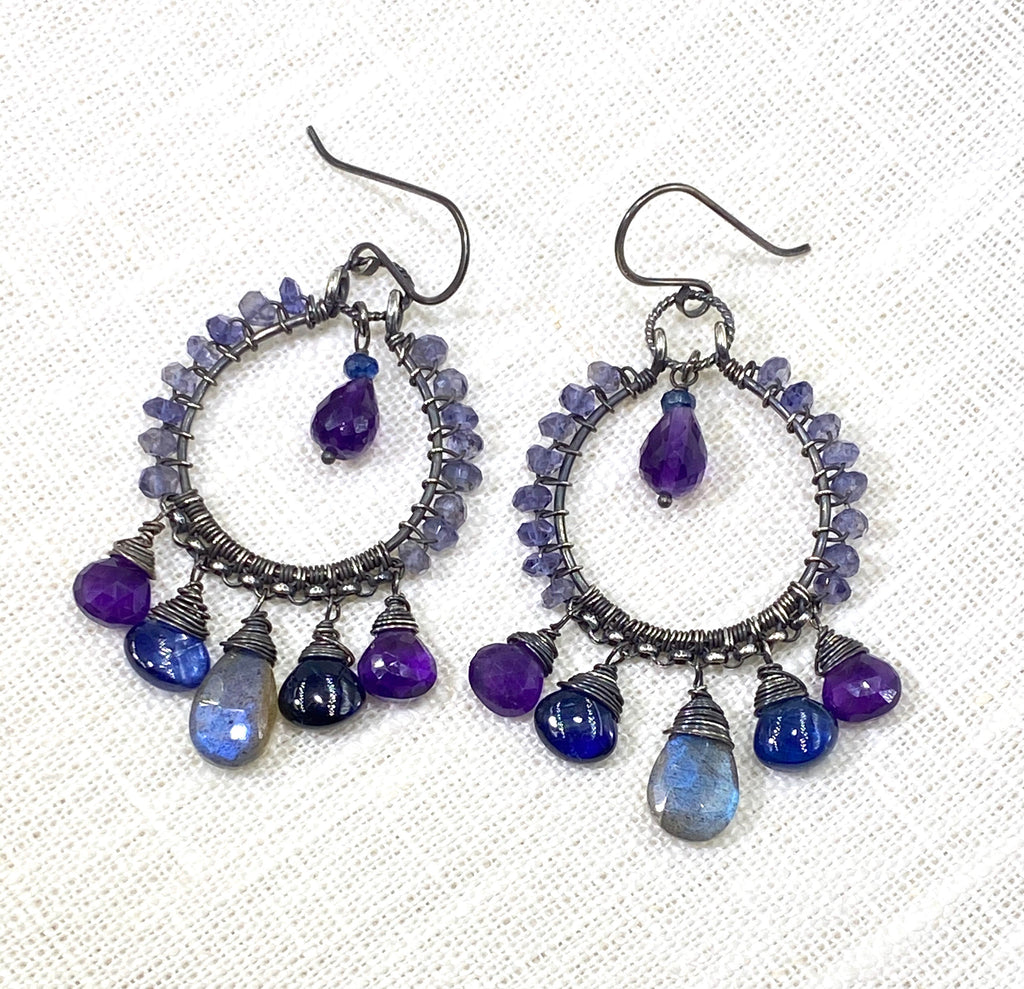 Blue Violet Oxidized Silver Hoop Chandelier Earrings Labradorite Kyanite Amethyst