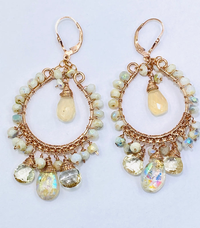 Rose Gold Hoop Earrings Mystic Citrine & Mystic White Opal