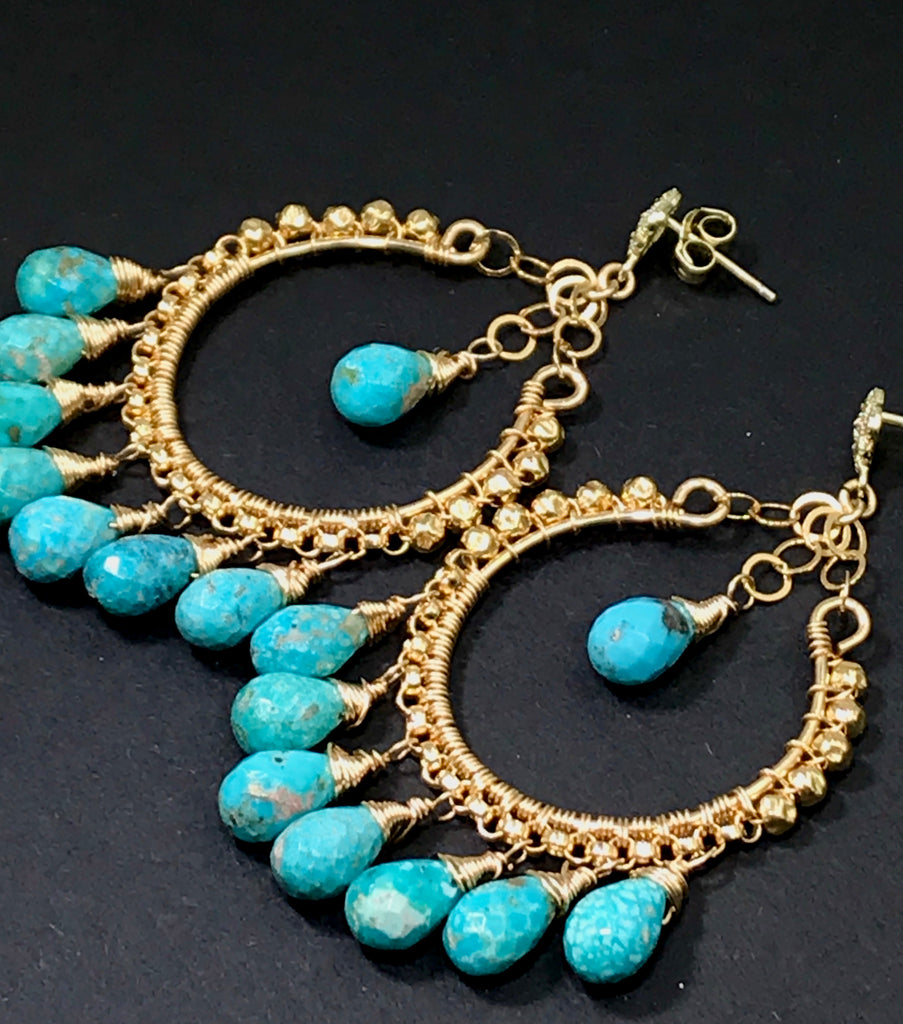 Turquoise Gold Hoop Chandelier Earrings - doolittlejewelry