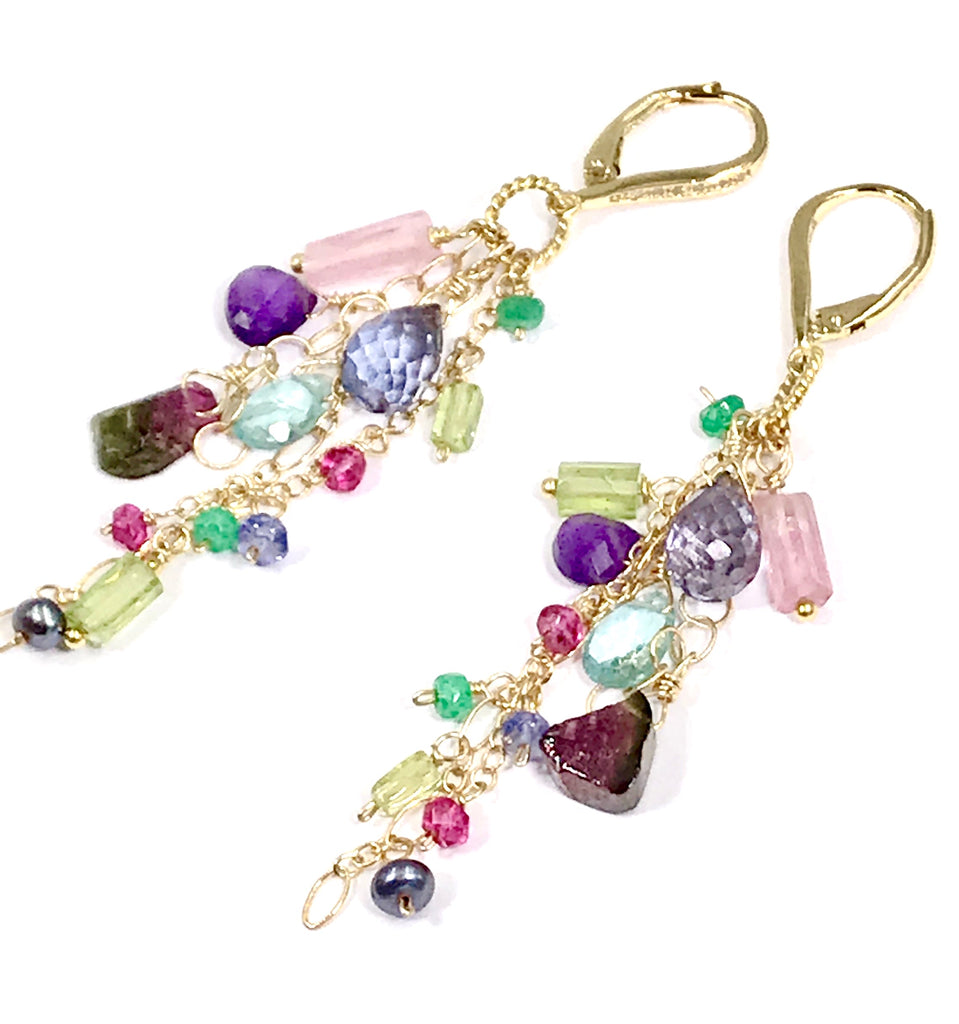 Gemstone Long Dangle and Watermelon Tourmaline Earrings - doolittlejewelry