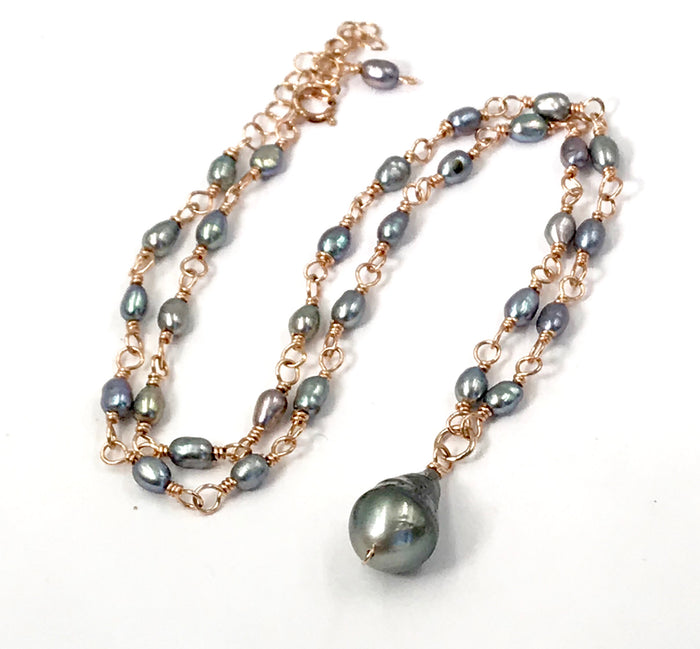 Tahitian Pearl, Peacock Pearl Rose Gold Wire Wrapped Dainty Necklace - doolittlejewelry