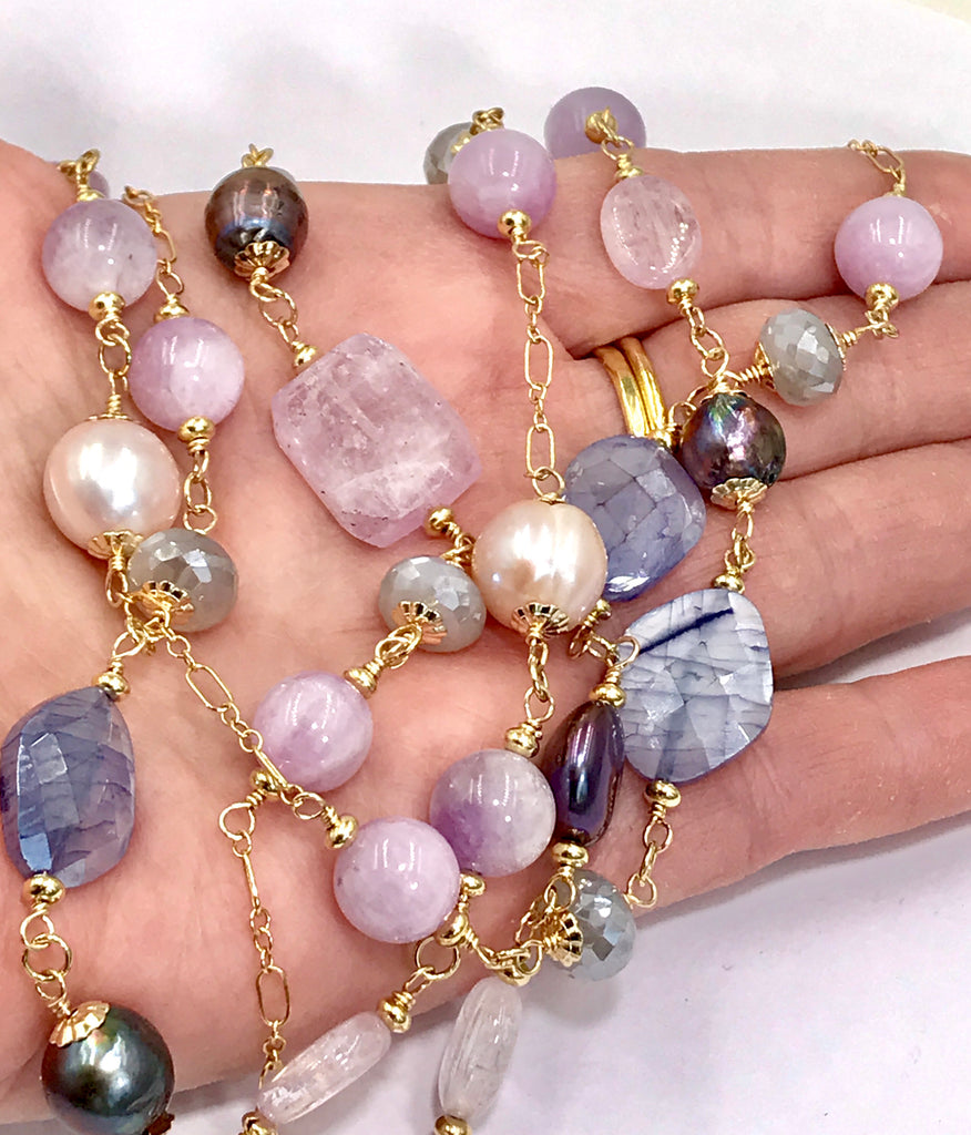 Long Multicolor Gem Stone Necklace Gold Kunzite, Blue Sapphire, Moonstone, Pearl - doolittlejewelry
