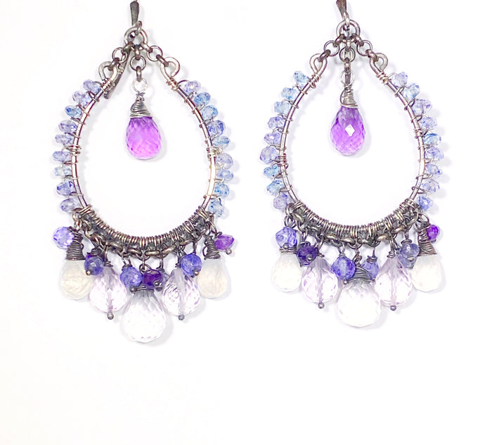Amethyst Moonstone Oxidized Sterling Silver Hoop Earrings