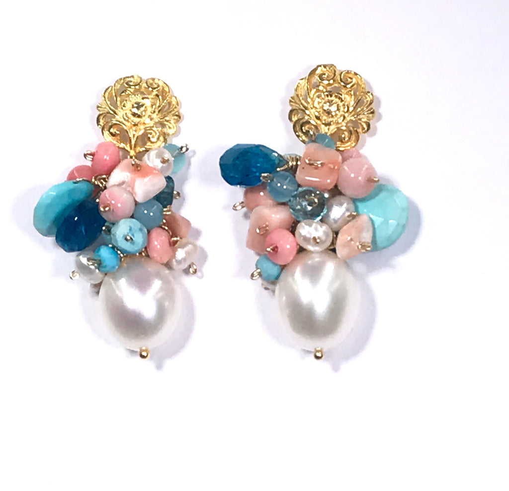 Turquoise Coral Pearl Cluster Earrings - doolittlejewelry